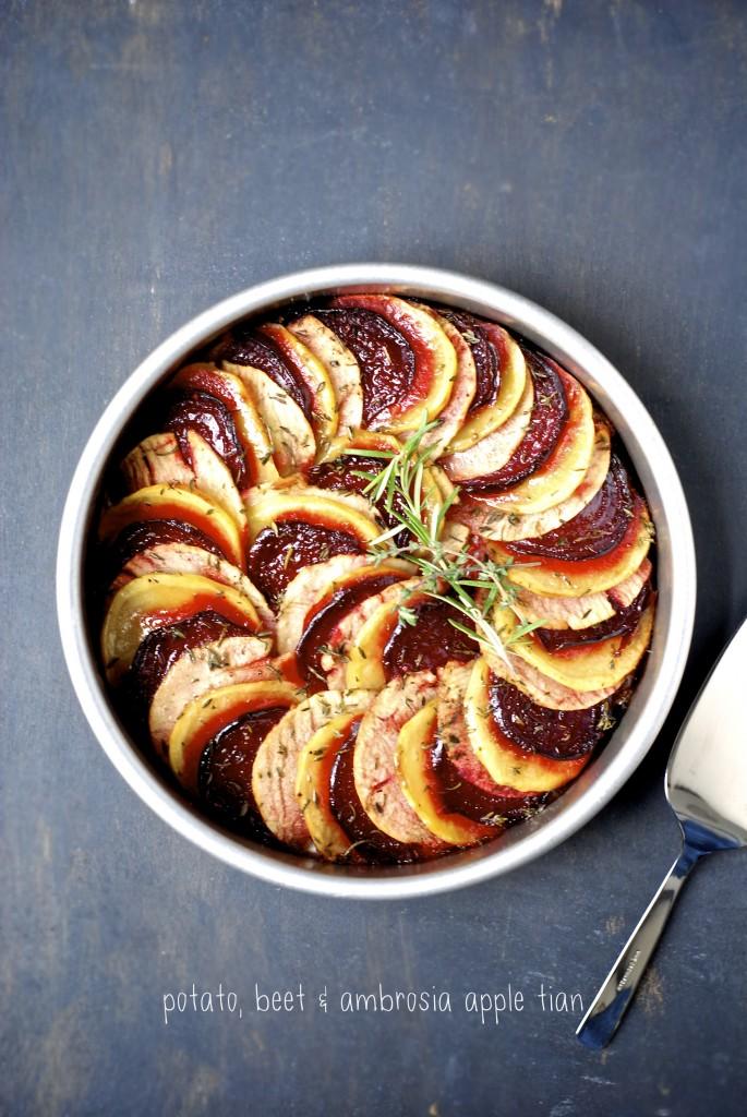 potato, beet, & ambrosia apple tian | kumquat