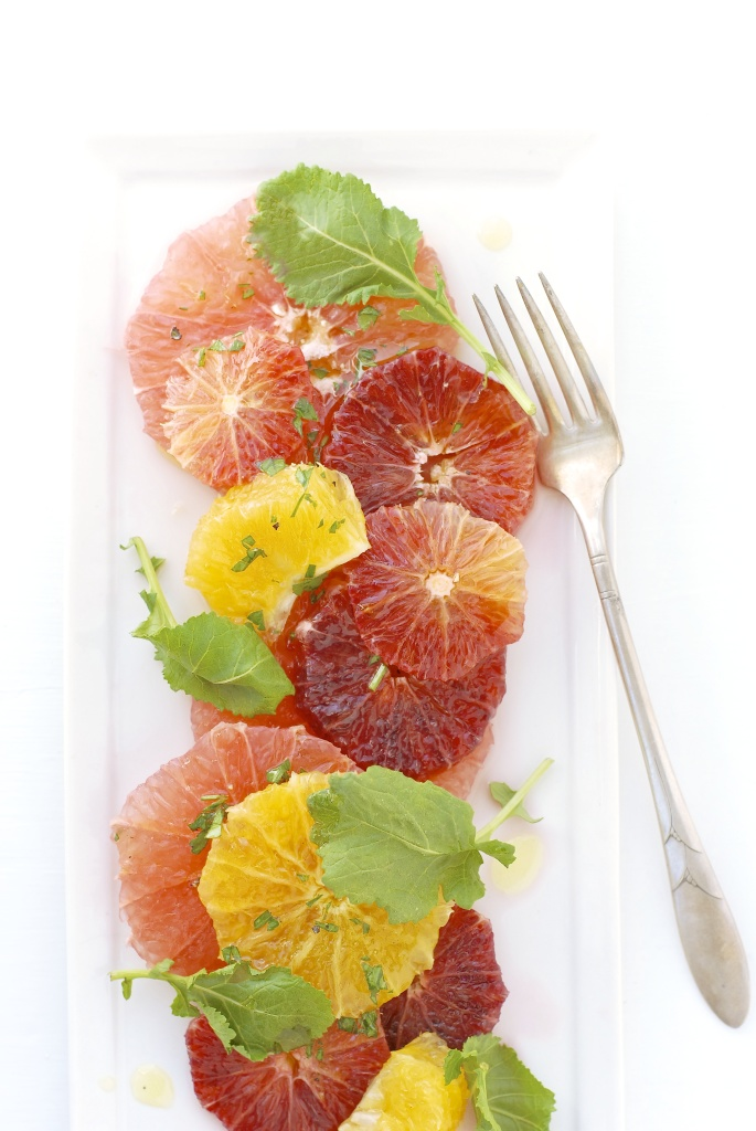 citrus salad with baby kale | kumquat