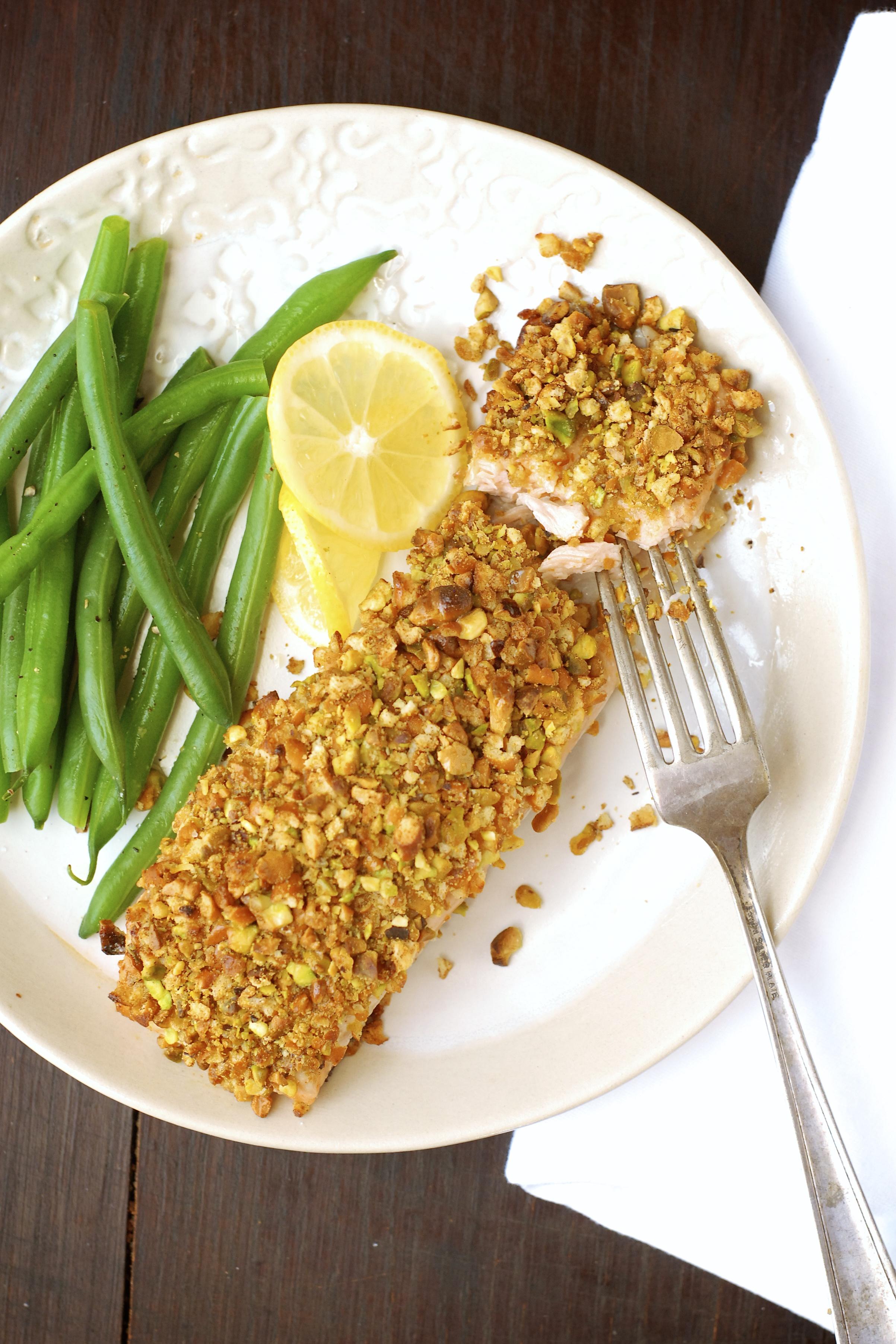 Honey-Mustard Pretzel & Pistachio Crusted Salmon