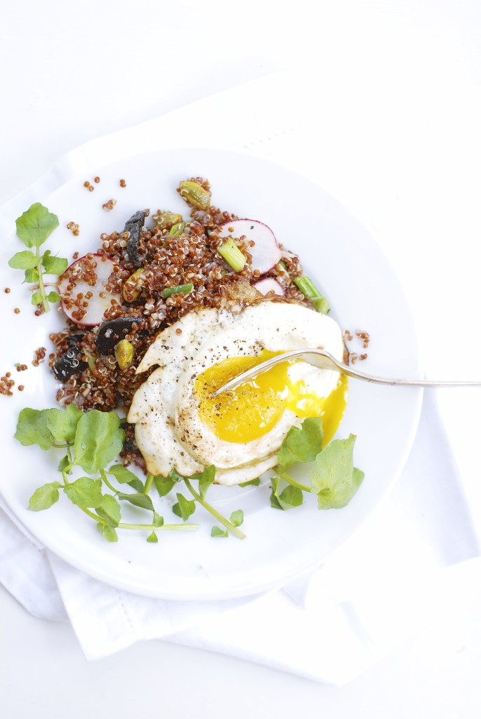 Lemon-Soaked Quinoa with Dried Plums, Pistachios & Watercress | kumquat
