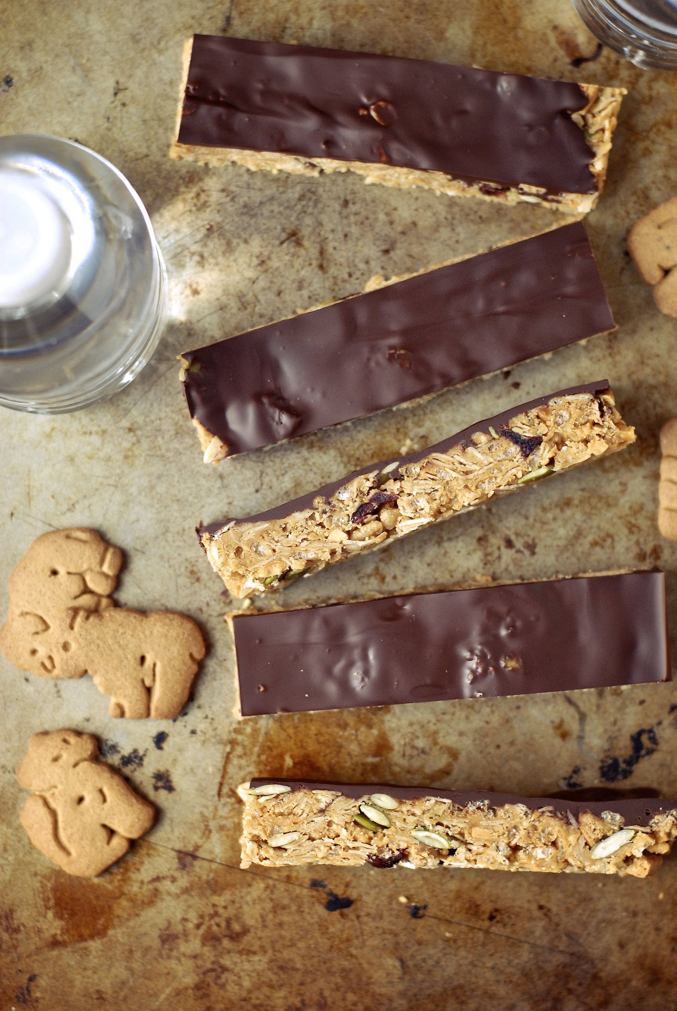 Chocolate Peanut Butter Graham Crunch Snack Bars