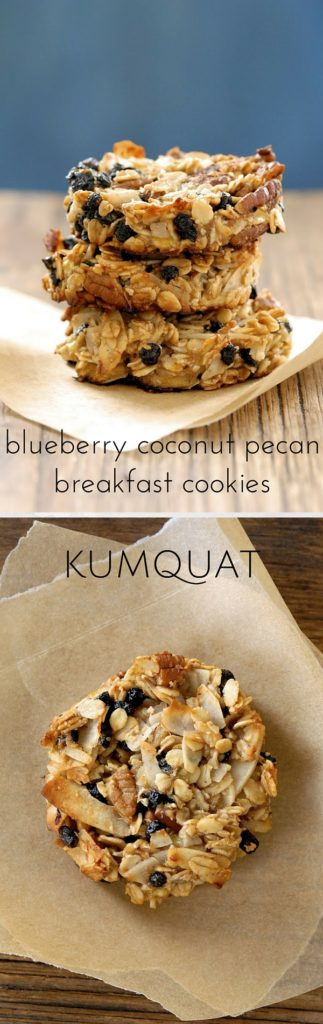 blueberry coconut pecan breakfast cookies | kumquatblog.com @kumquatblog