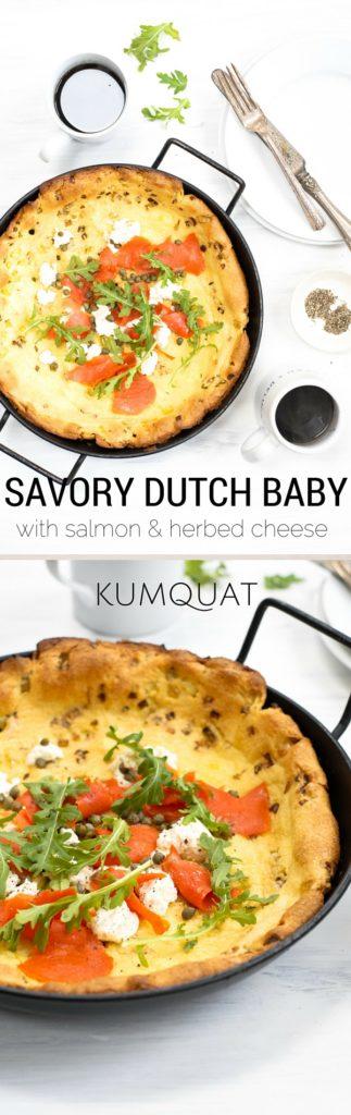 savory dutch baby with salmon & herbed cheese {gluten-free} | kumquatblog.com @kumquatblog