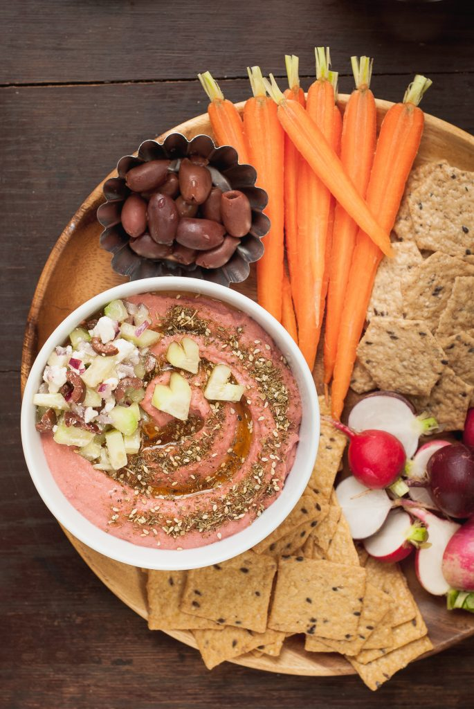 Za'atar Beet Hummus with Cucumber-Feta Relish | kumquatblog.com @kumquatblog recipe