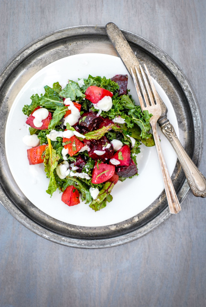 Roasted Beet & Greens Salad with Horseradish Creme | kumquat
