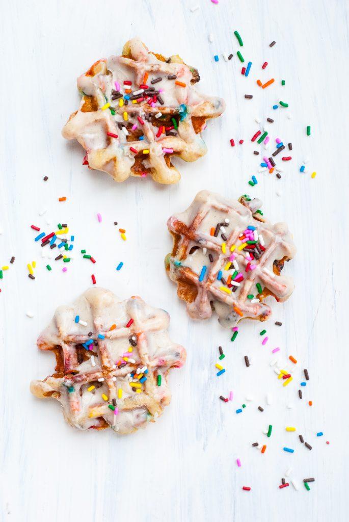 grain-free birthday cake waffle donuts | kumquatblog.com @kumquatblog recipe