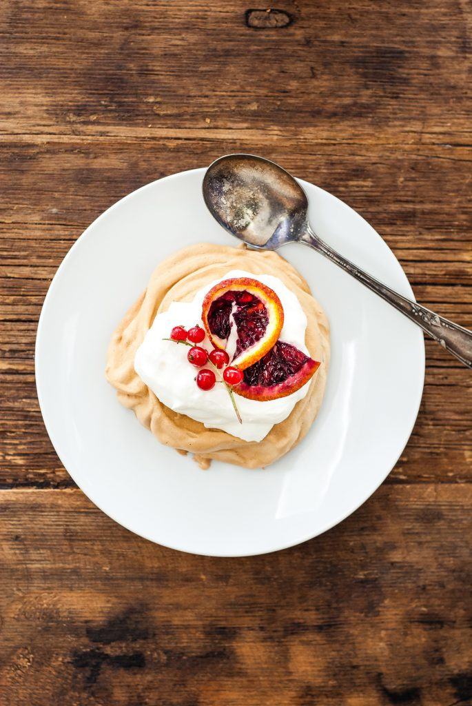 Coconut Sugar Pavlovas with Blood Orange and Red Currants | kumquatblog.com @kumquatblog recipe