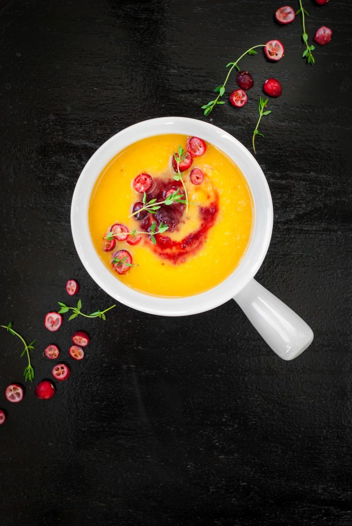 Butternut Squash Soup with Cranberry Apple Swirl | kumquatblog.com @kumquatblog recipe