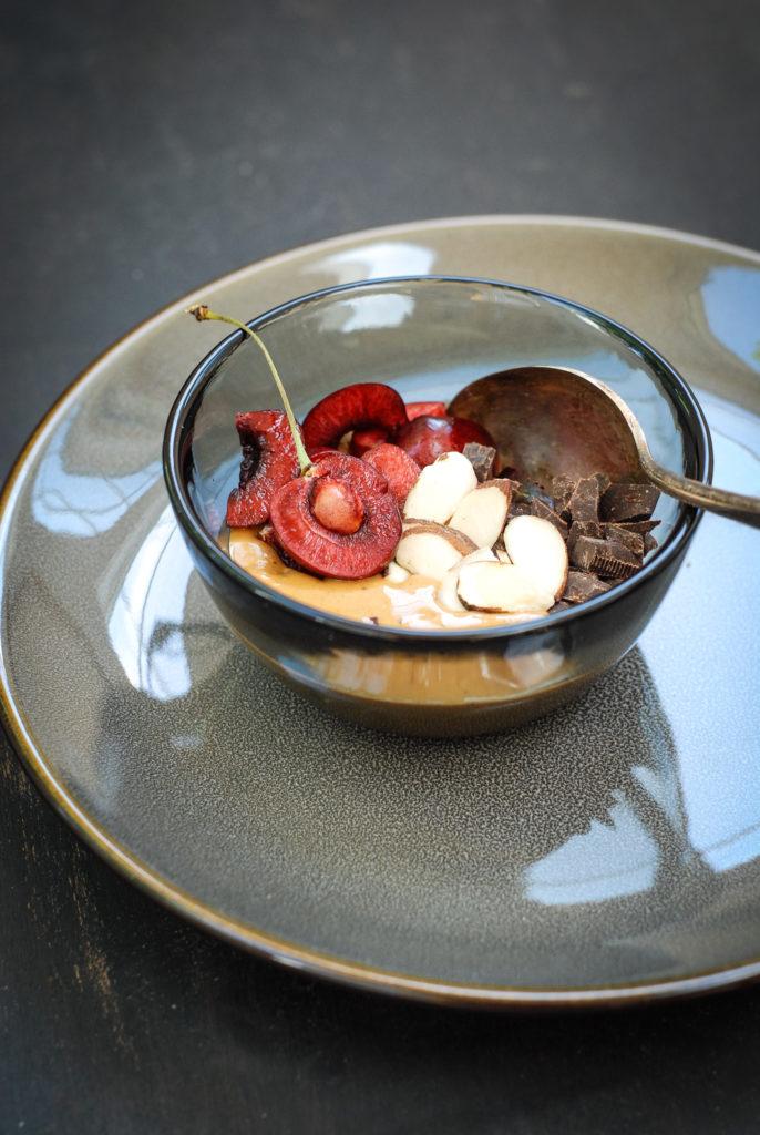 chocolate cherry nut butter bowl | kumquatblog.com @kumquatblog
