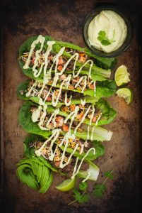 Lettuce Leaf Tacos with Avocado-Cilantro Cream | kumquatblog.com @kumquatblog recipe