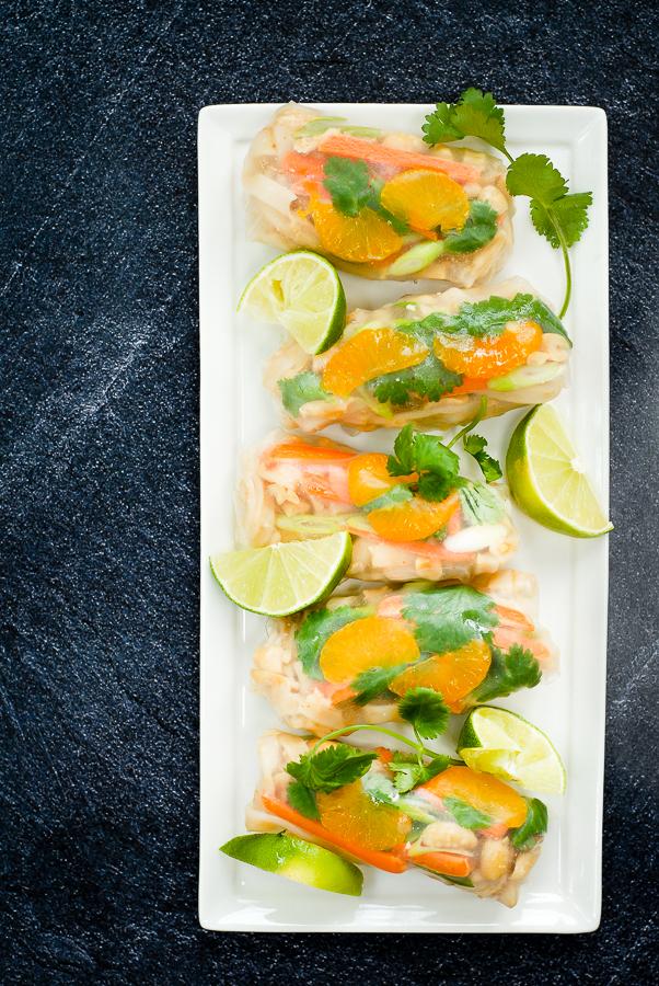 mandarin pad thai spring rolls
