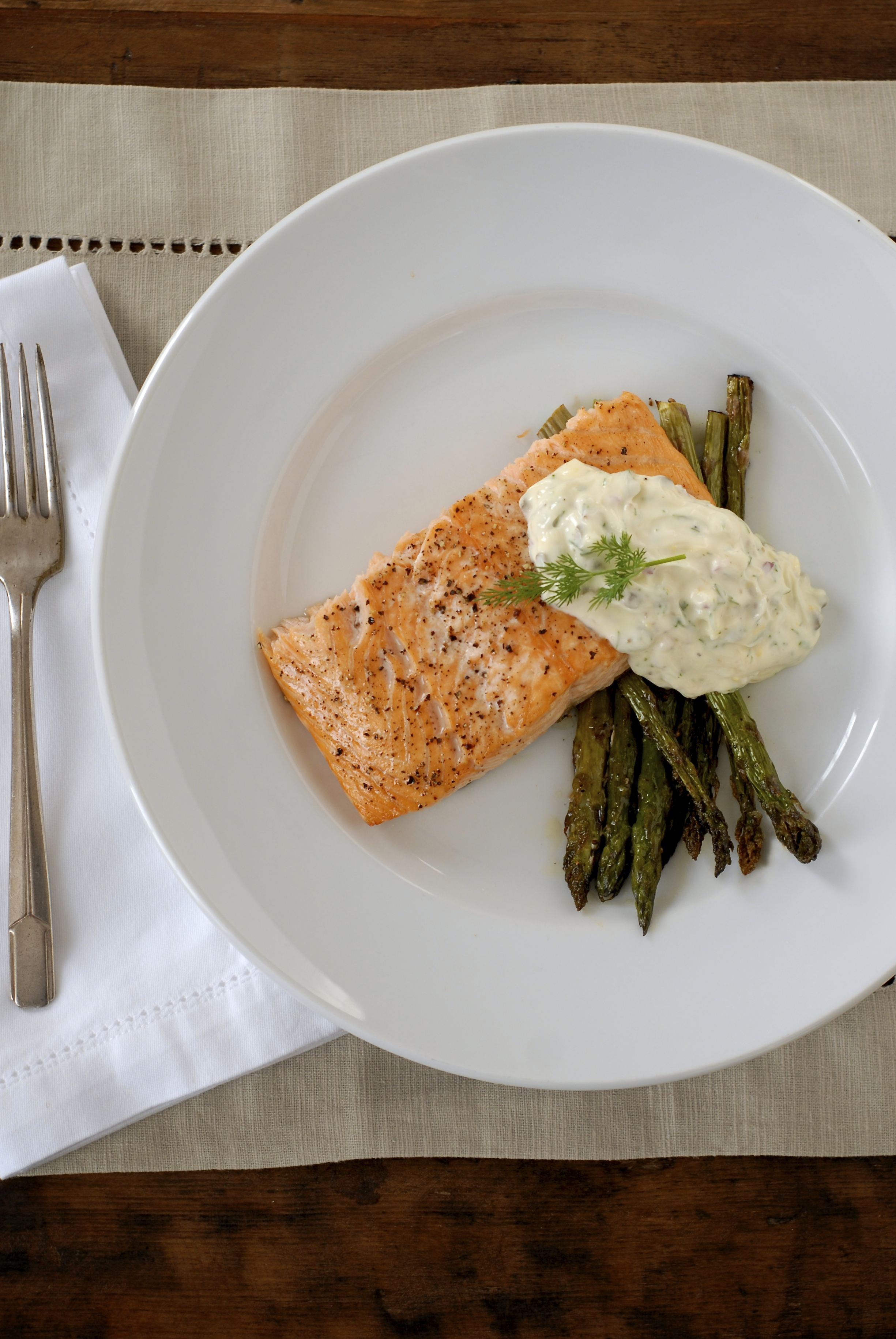 Roasted Salmon & Asparagus with Lemon-Caper-Dill Aioli