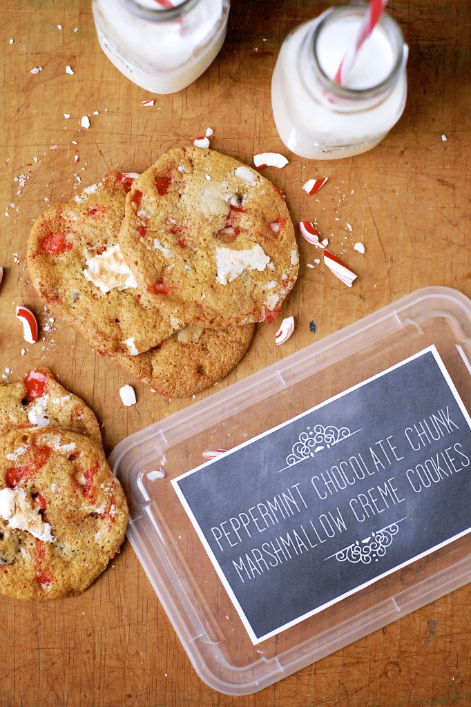 peppermint chocolate chunk marshmallow creme cookies | kumquat