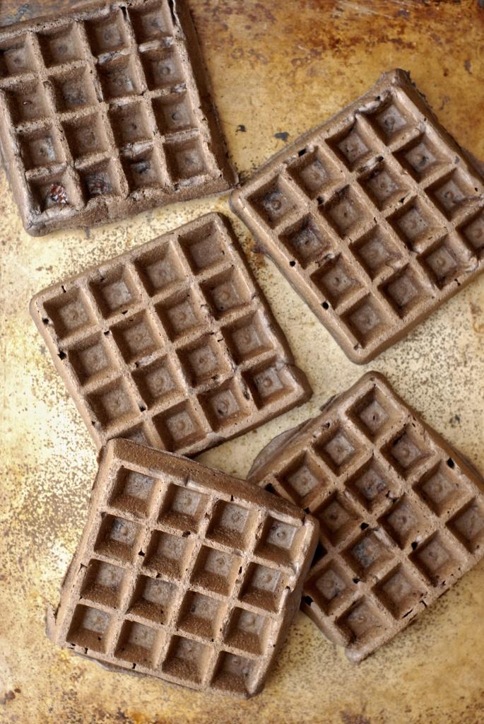 gluten-free dark chocolate-peanut butter waffles with maple-peanut syrup   kumquat