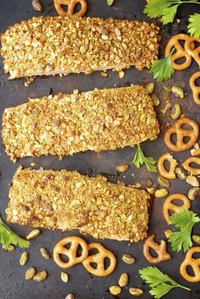 glutino pretzel and pistachio salmon | kumquat