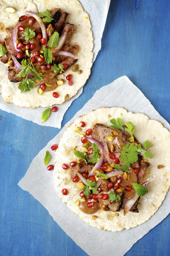 grilled lamb shawarma with pomegranate and pistachios | kumquat