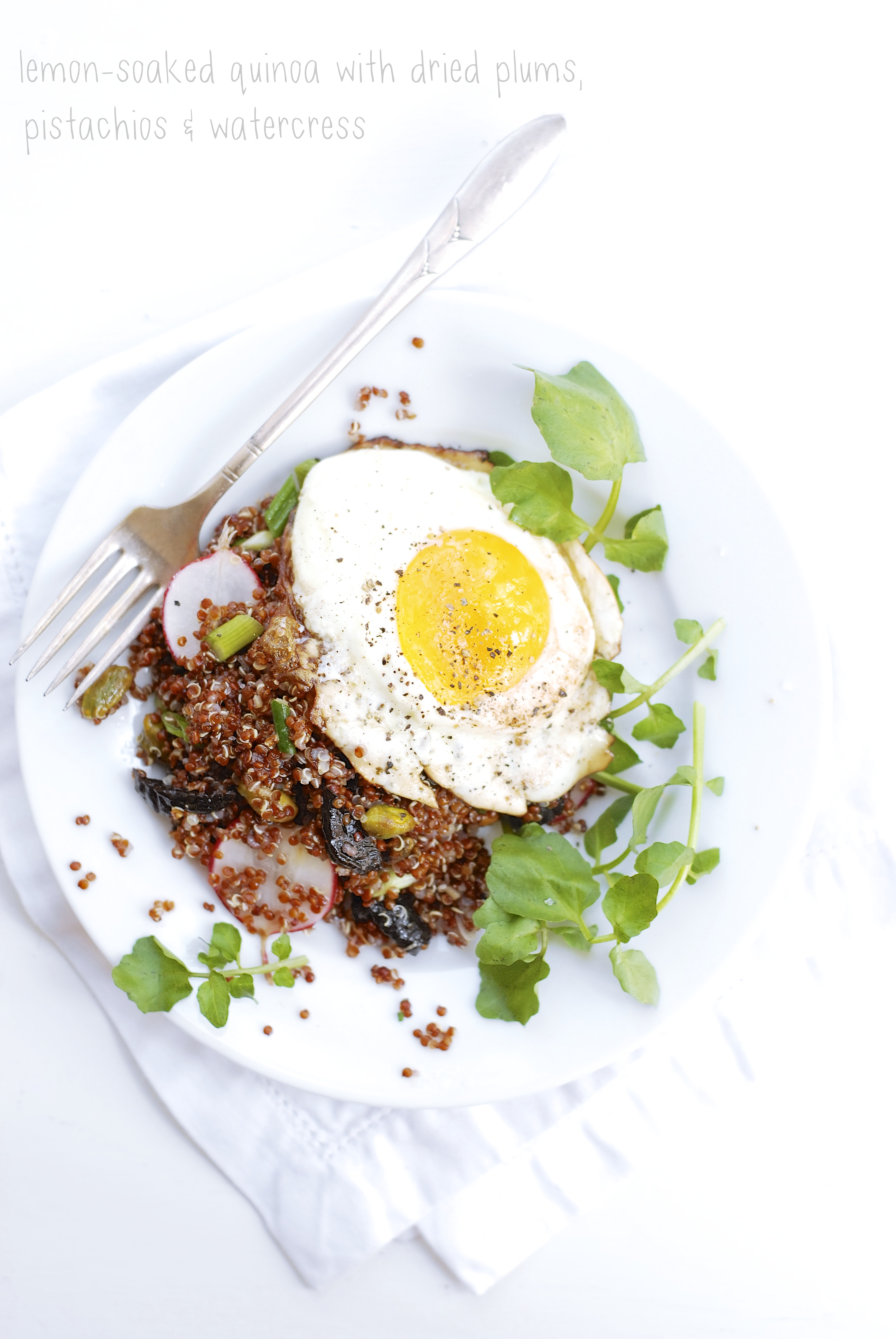 Lemon-Soaked Quinoa with Dried Plums, Pistachios & Watercress
