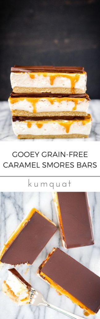 Gooey Grain-Free Caramel Smores Bars | kumquatblog.com @kumquatblog