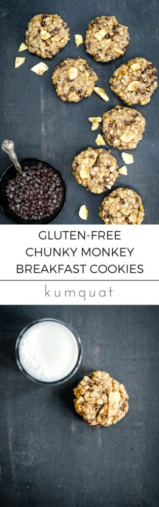 gluten-free chunky monkey breakfast cookies | @kumquatblog kumquatblog.com