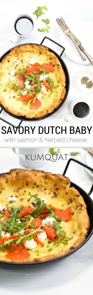savory dutch baby with salmon & herbed cheese {gluten-free} | kumquatblog.com @kumquatblog