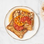 Vegan Nog and Almond French Toast with Candied Winter Fruit | kumquatblog.con @kumquatblog recipe