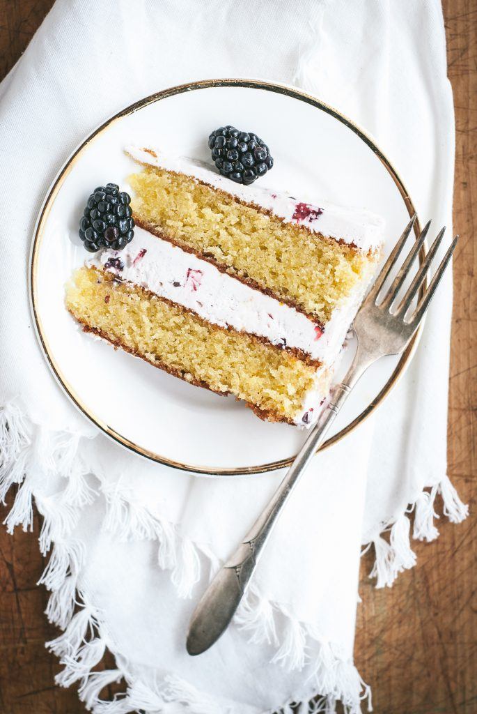 Grain-Free Almond Olive Oil Cake with Blackberry Buttercream | kumquatblog.com @kumquatblog recipe