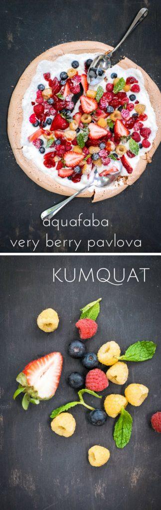 aquafaba very berry pavlova | kumquatblog.com @kumquatblog