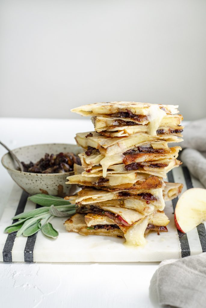 Cheddar and Apple Quesadillas with Bacon Jam | kumquatblog.com @kumquatblog recipe