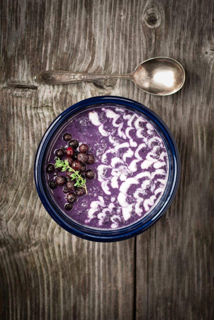 Wild Blueberry Earl Grey Smoothie Bowl with Fresh Lemon-Vanilla Yogurt