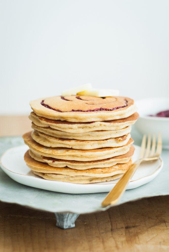 Grain-Free PB&J Swirl Pancakes