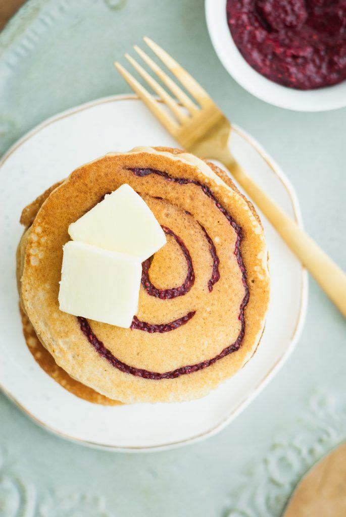 grain-free PB&J swirl pancakes | kumquatblog.com @kumquatblog recipe