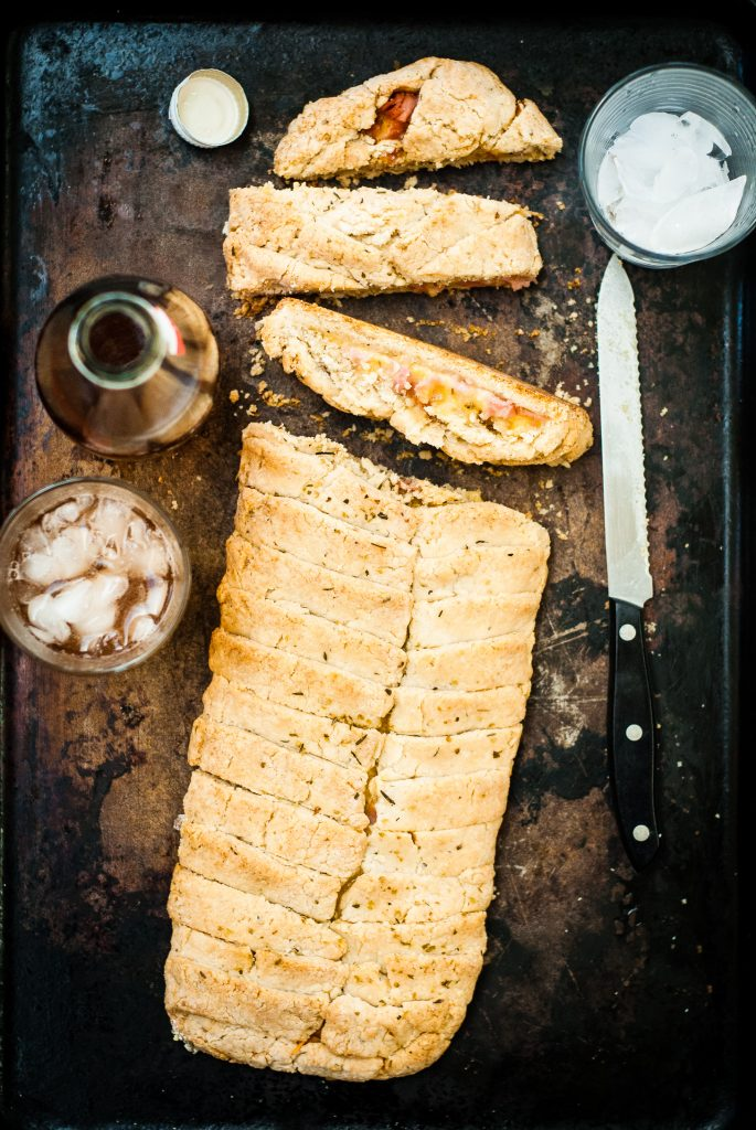 Savory Grain-Free Ham and Cheddar Stromboli | kumquatblog.com @kumquatblog recipe