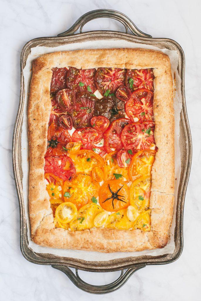 Grain-Free Heirloom Tomato Tart with Basil-Lemon Crust