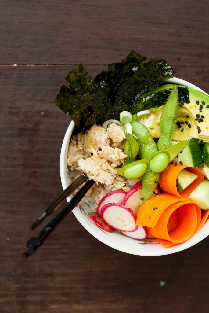 Salmon Sushi Bowl with Wasabi-Turmeric Dressing