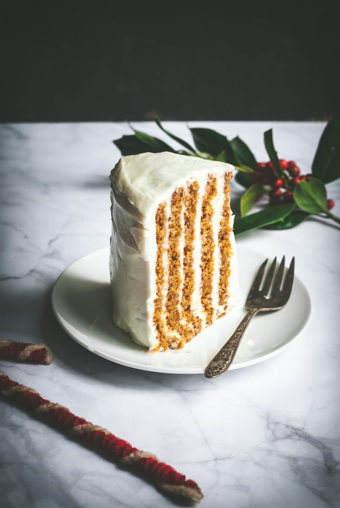 Grain-Free Vertical Gingerbread Cake with Lemon-Cream Cheese Frosting | kumquatblog.com @kumquatblog recipe